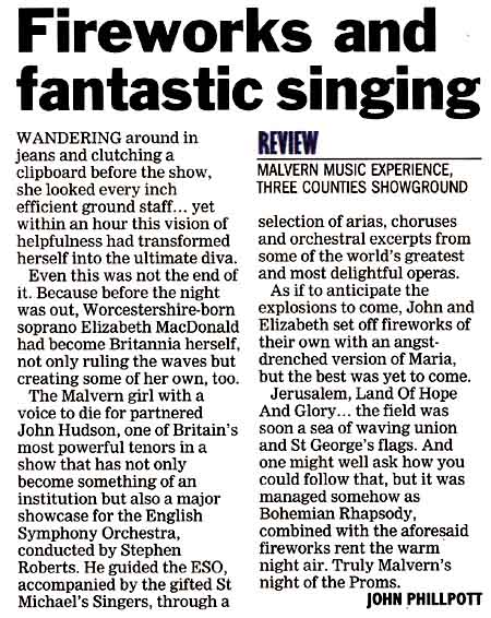 Worcester News review of the Malvern Music Experience 2008